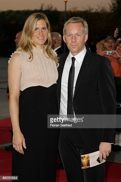 Presenter Johannes B Kerner and wife Britta Becker Kerner arrive for the German TV Award 2008 at the Coloneum on October 11 2008 in Cologne Germany