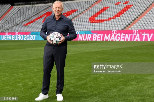 Presenter Johannes B. Kerner is seen on the pitch during the the Magenta TV EURO 2020 Media Day at Allianz Arena on May 11, 2021 in Munich, Germany.