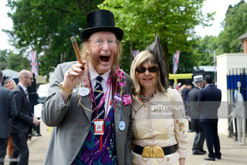 Presenter John McCririck and his wife attend day four of Royal Ascot 2014 at Ascot Racecourse on June 20, 2014 in Ascot, England.