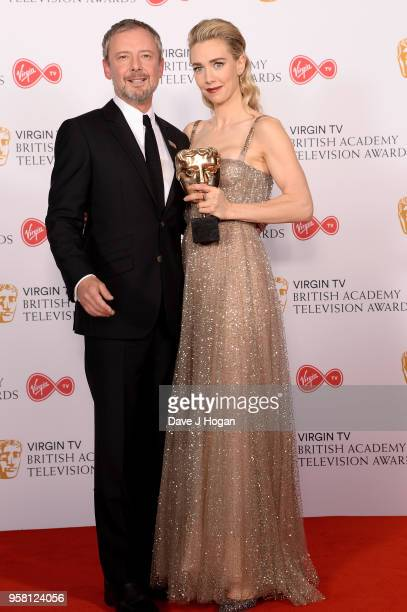 Presenter John Simm and Winner of Best Supporting Actress for The Crown Vanessa Kirby pose in the press room at the Virgin TV British Academy...