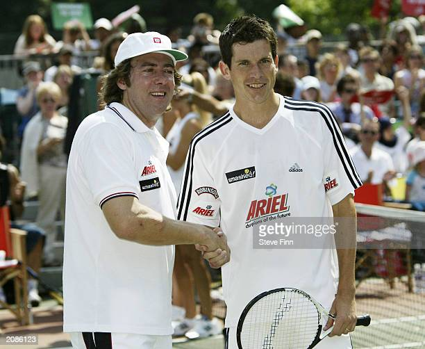"Presenter Jonathan Ross and tennis player Tim Henman at the ""Ariel Champions Of The Future"" celebrity tennis tournement at Regents Park Tennis Club..."