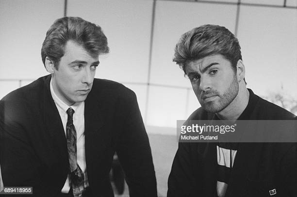 TV presenter Jonathan Ross with British singersongwriter George Michael on 'The Last Resort with Jonathan Ross' at Ewart Television Studios...
