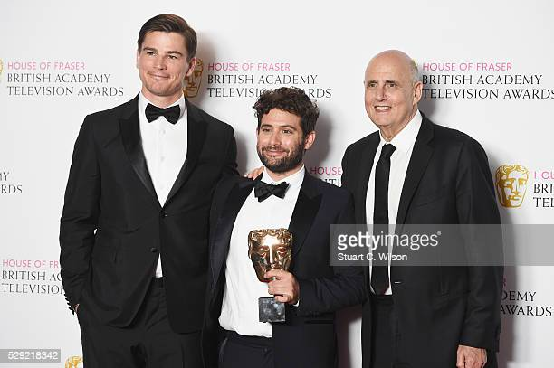 Presenter Josh Hartnett poses with producer Victor Hsu and Jeffrey Tambor accepting the Best International award for 'Transparent' poses in the...