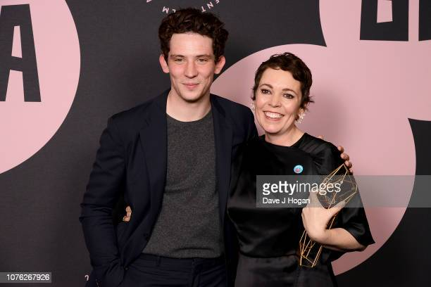Presenter Josh O'Connor and winner of the Best Actress Award for 'The Favourite' Olivia Colman in the winners room at the 21st British Independent...