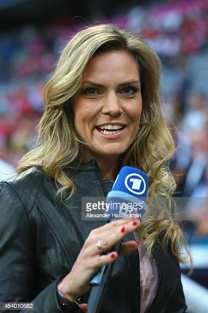 TV presenter Julia Scharf during the Bundesliga match between FC Bayern Muenchen and VfL Wolfsburg at Allianz Arena on August 22 2014 in Munich...