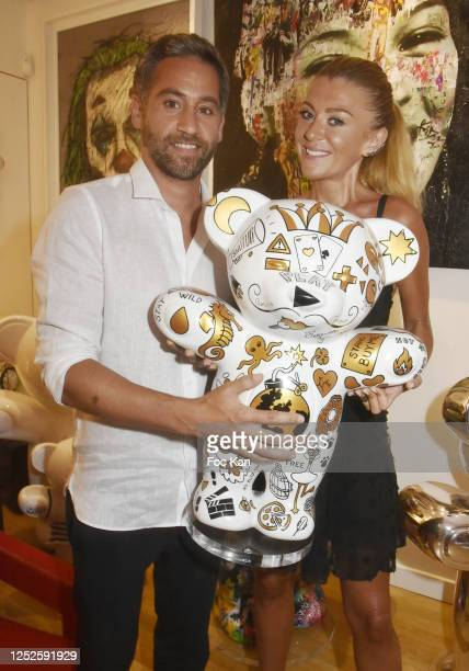 Presenter Julien Benedetto and Julia Battaia attend Jayet Et Ses Ours Exhibition Preview at Galerie Art and Sound on June 25 2020 in Paris France
