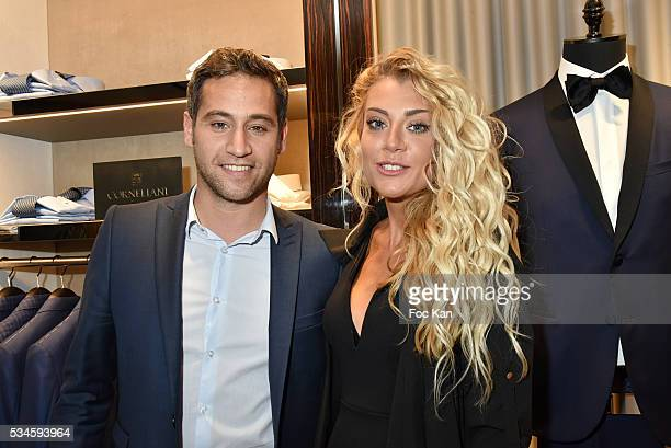 TV presenter Julien Benedetto from France2 and interior designer Julia Battaia attend Corneliani Paris Shop Opening Party on May 26 2016 in Paris...