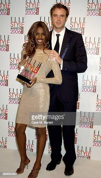 TV presenter June Sarpong poses backstage in the Awards Room with the Levi's Hot Look award presented by Jamie Theakston at the ELLE Style Awards...
