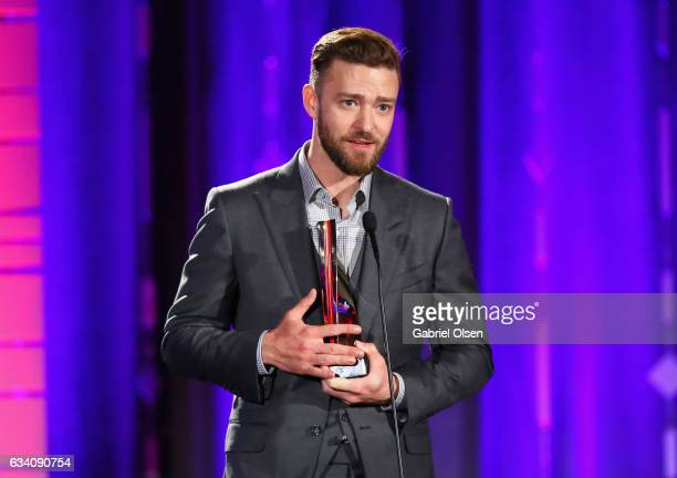 Presenter Justin Timberlake speaks onstage at the 16th Annual AARP The Magazine's Movies For Grownups Awards at the Beverly Wilshire Four Seasons...