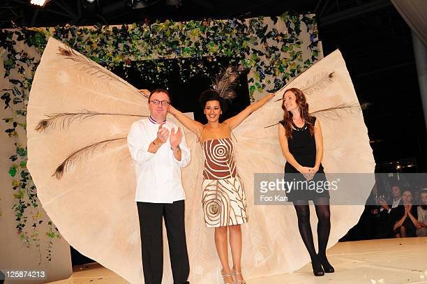 TV presenter Karima Charni and stylists Arnaud Lahrer and Johanna Riplinger attends the Salon Du Chocolat 2010 Opening Night at the Parc des...
