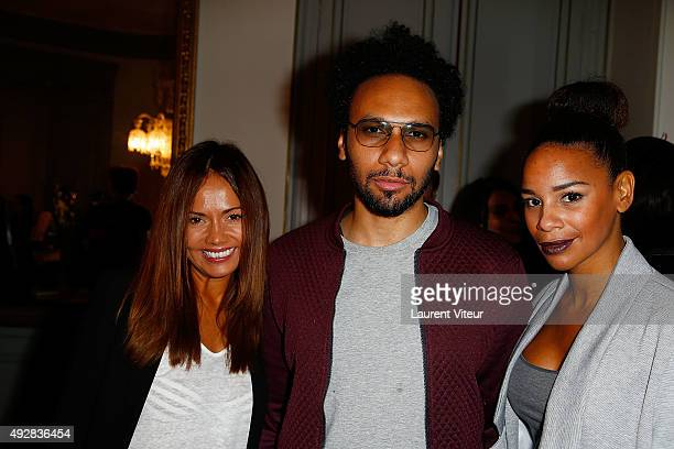 Presenter Karine Arsene Actor Yassine Azzouz and TV Presenter Alicia Fall attend the Stella Dot Cocktail Party To Benefit Octobre Rose on October 15...