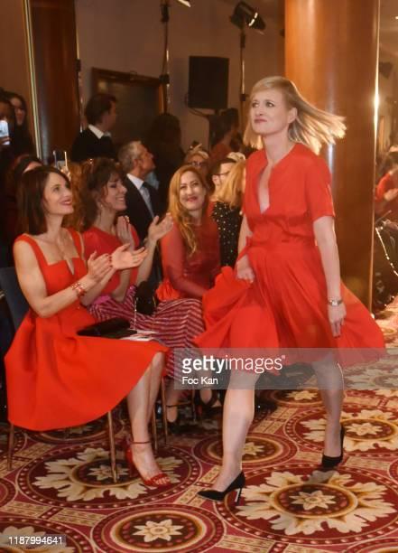"Presenter Karine de Menonville attends the 3rd ""Sauvez Le Coeur Des Femmes - Red Defile"" show at Hotel Marriot on November 15, 2019 in Paris, France."