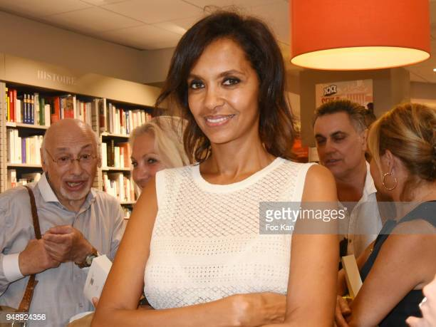 TV presenter Karine Le Marchand attends VO Mathilda May Book Signing at Librairie Albin Michel Bd Saint Germain on April 19 2018 in Paris France