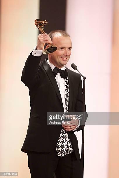 TV presenter Karsten Schwanke recieves the award 'Best TV Information' during the Goldene Kamera 2010 Award at the Axel Springer Verlag on January 30...