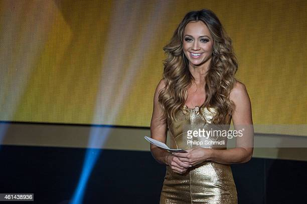 Presenter Kate Abdo smiles during the FIFA Ballon d'Or Gala 2014 at the Kongresshaus on January 12 2015 in Zurich Switzerland