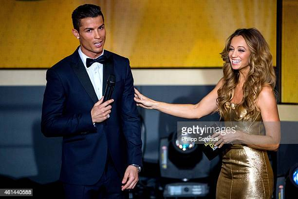 Presenter Kate Abdo speaks with Cristiano Ronaldo of Portugal and Real Madrid during the FIFA Ballon d'Or Gala 2014 at the Kongresshaus on January 12...