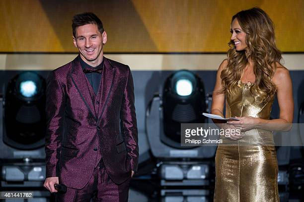 Presenter Kate Abdo speaks with FIFA Ballon d'Or nominee Lionel Messi of Argentina and FC Barcelona during the FIFA Ballon d'Or Gala 2014 at the...