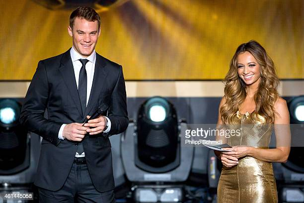 Presenter Kate Abdo speaks with FIFA Ballon d'Or nominee Manuel Neuer of Germany and FC Bayern Munich during the FIFA Ballon d'Or Gala 2014 at the...