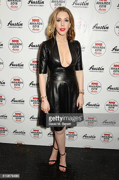 Presenter Katherine Ryan poses in the Winners Room at the NME Awards with Austin Texas at the O2 Academy Brixton on February 17 2016 in London England