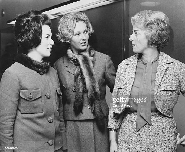Presenter Katie Boyle chats to Eurovision Song Contest entrants Laila Halme of Finland and Annie Palmen of the Netherlands at the BBC Television...
