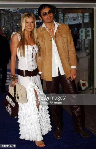 TV presenter Katy Hill and Trey Farley arriving for the premiere of 'Bend It Like Beckham' at the Odeon Leicester Square London