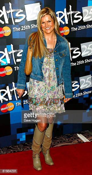 TV presenter Katy Hill attends the/performs at the Brit Awards 2005 Shortlist Announcement at the Park Lane Hotel on January 10 2005 in London The...