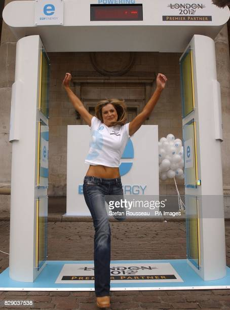 TV Presenter Katy Hill 'leaps for London' through EDF's Electronic Leap Counter in London to register her support for the capital's bid for the 2012...