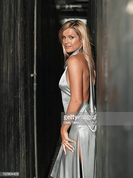 Presenter Katy Hill poses for a portrait shoot in London UK