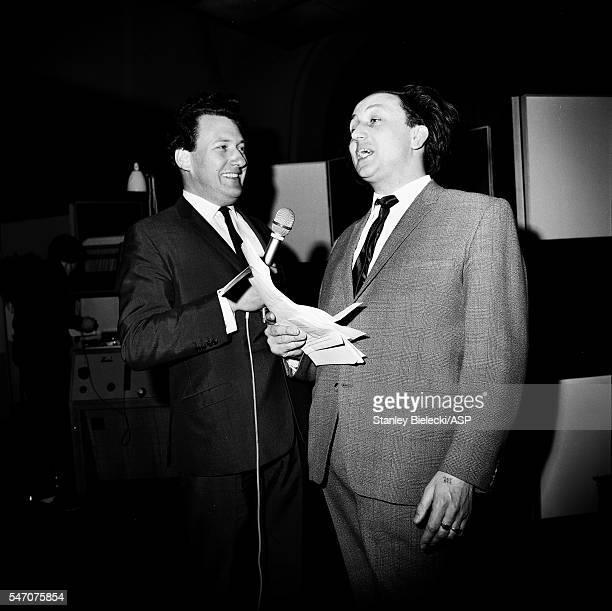 Presenter Keith Fordyce interviews comedian Ken Dodd on BBC radio show Pop Inn London 1965