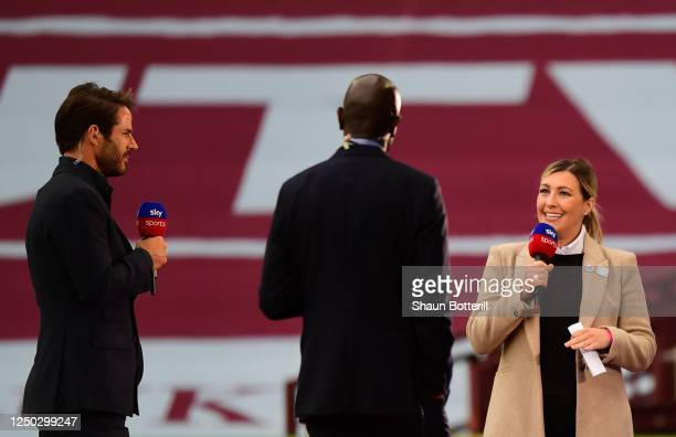 TV presenter Kelly Cates is seen presenting at half time during the Premier League match between Aston Villa and Sheffield United at Villa Park on...