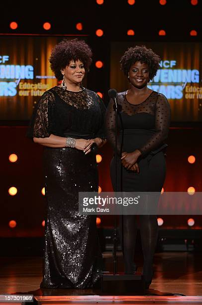 Presenter Kim Coles and honoree Delrisha White speak onstage during UNCF's 33rd annual An Evening Of Stars held at Pasadena Civic Auditorium on...