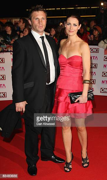 TV presenter Kirsty Gallacher and guest arrive at the 2008 National Television Awards at The Royal Albert Hall on October 29 2008 in London England