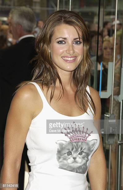 TV presenter Kirsty Gallacher arrives at the UK Premiere of 'I Robot' at Odeon Leicester Square on August 4 2004 in London