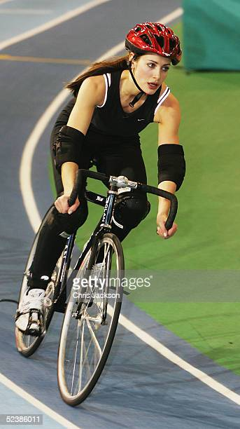 Presenter Kirsty Gallacher is seen at a cycling training session ahead of the new series of the reality TV show The Games at the English Institute of...