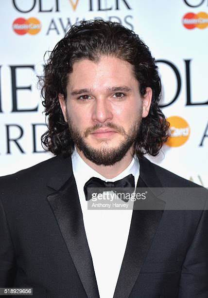 Presenter Kit Harrington poses in the winners room at The Olivier Awards at The Royal Opera House on April 3 2016 in London England