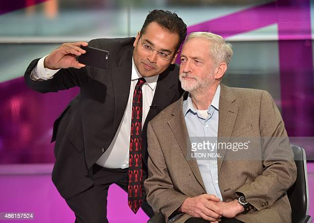 Presenter Krishnan GuruMurthy takes a 'selfie' with Labour Party leadership candidate Jeremy Corbyn during a Channel 4 News Labour leadership TV...