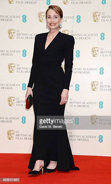 Presenter Kristin Scott Thomas poses in the winners room at the EE British Academy Film Awards at The Royal Opera House on February 8 2015 in London...