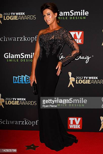 Presenter Kylie Gillies arrives at the 2012 Logie Awards at the Crown Palladium on April 15 2012 in Melbourne Australia