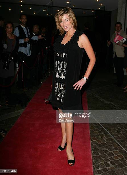 TV presenter Kylie Gillies arrives for the opening night of the music production of 'My Fair Lady' at the Theatre Royal on October 9 2008 in Sydney...