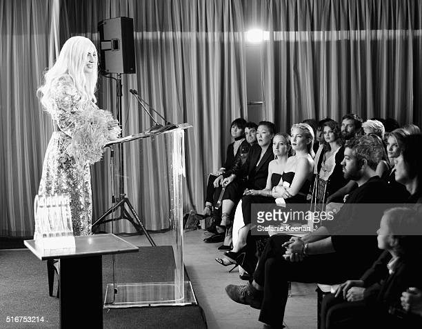 EXCLUSIVE COVERAGE Presenter Lady Gaga speaks onstage during The Daily Front Row 'Fashion Los Angeles Awards' 2016 at Sunset Tower Hotel on March 20...