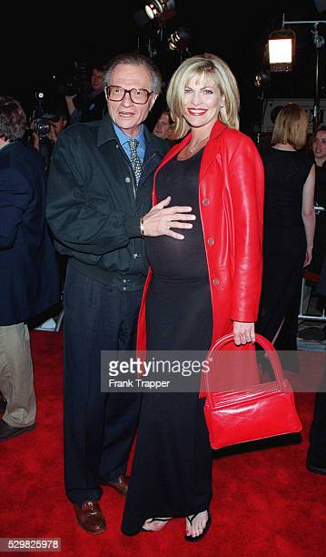Presenter Larry King arrives with his wife Shawn Southwick, currently pregnant.