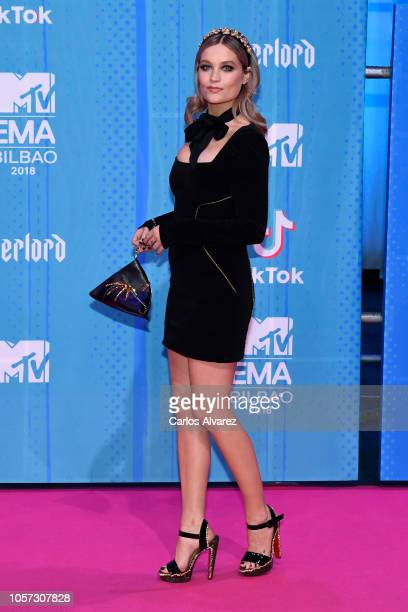 MTV presenter Laura Whitmore attends the MTV EMAs 2018 at Bilbao Exhibition Centre on November 4 2018 in Bilbao Spain