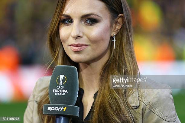 TV presenter Laura Wontorra is pictured prior to the UEFA Europa League quarter final second leg match between Liverpool and Borussia Dortmund at...