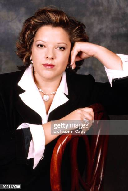 Presenter Laurence Boccolini poses during a portrait session in Paris France on