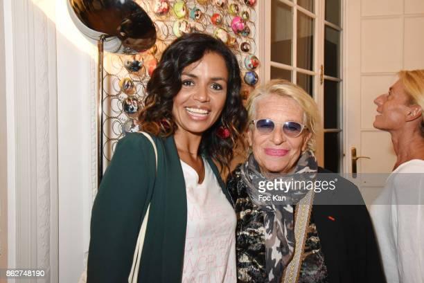 R TV presenter Laurence Roustandjee and Veronique de Villele attend the 'Love EtcÉ' Caroline Faindt Exhibition Preview at '28 Octobre Office' on...