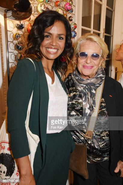 R TV presenter Laurence Roustandjee and Veronique de Villele attend the 'Love EtcÉ' Caroline Faindt Exhibition Preview at '28 Octobre Office' on...