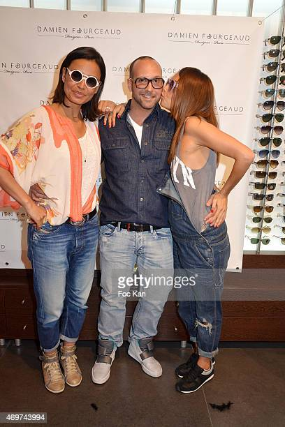 TV presenter Laurence Roustandjee eyeglasses designer Damien Fourgeaud andTV presenter Karine Arsene attends the 'Damien Fourgeaud' Eyeglasses Launch...