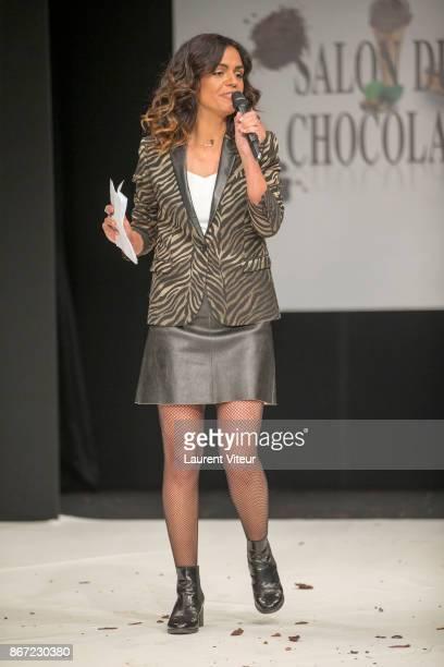 Presenter Laurence Roustandjee Presents 'Le Defile des Robes en Chocolats' during the 'Salon du Chocolat Paris 2017' at Parc des Expositions Porte de...