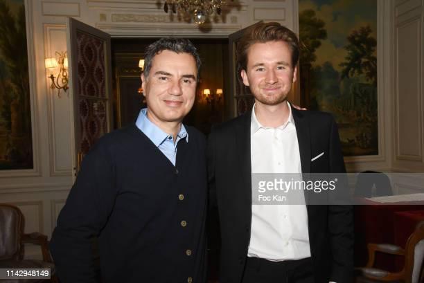 "Presenter Laurent Luyat and writer Bastien Kossek attend ""Sardou Regards"" Bastien Kossek's Book Launch at Hotel Raphael on April 15, 2019 in Paris,..."