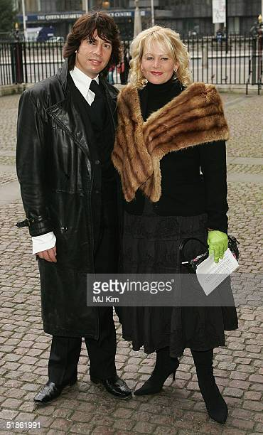 TV presenter Lawrence LlewellynBowen and his wife Jackie arrive at the Woman's Own Children Of Courage Award at Westminster Abbey on December 15 2004...
